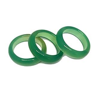 3pcs Natural Agate Green Jade Gemstone Band Ring