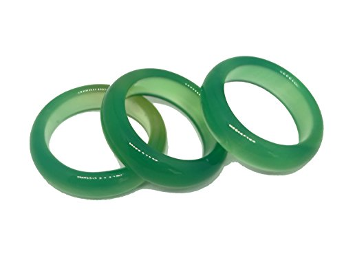3Naturachat-Ringe, grün, Jade-Edelstein