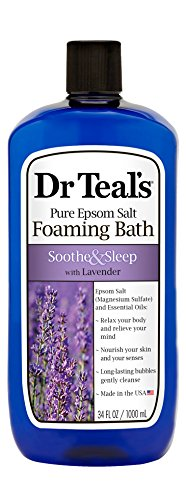 Dr Teal's Pure Epsom Salt Foaming Bath to Soothe and Sleep with Lavender, 1 Litre