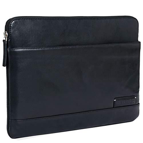 STILORD \'Robb\' Vintage Leder Laptoptasche für 13,3 Zoll MacBooks MacBooktasche Universal Tablettasche bis 14 Zoll DIN A4 echtes Rindsleder, Farbe:schwarz