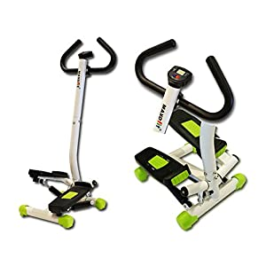 MAXOfit® Homestepper MF-15 | Fitness Swing Stepper für Zuhause, Ministepper mit Handgriff | Twister Up-Down-Stepper inklusive LCD Trainingscomputer | Mini Hometrainer