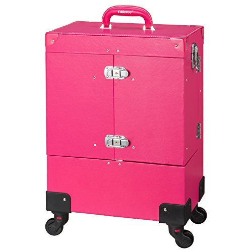 Ollieroo Rose-Pink Lockable PU Artist Makeup Cosmetic Train Case with 4 Removable Rolling Wheels and 4 Keys