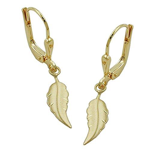 ASS 333 Gold Topmodische Ohrringe Ohrhänger Brisur Blatt matt-diamantiert