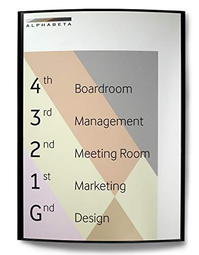 Modulex Pacific 605x445mm A2 Türschild Büro Wandschild Infotafel Hochformat | Aluminium und Spritzguss Polycarbonat in Anthrazit | nicht-reflektierende Frontscheibe | Büroschild | Wandschild