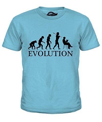 Candymix Frau Lesung Leson Evolution des Menschen Unisex Jungen Mädchen T Shirt, Größe 12 Jahre, Farbe Himmelblau