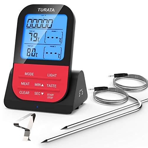 TURATA Fleischthermometer Funk Bratenthermometer mit Zeitmesser, 2 Temperaturfühlern Sonden, Magnetrückwand, Hintergrundbeleuchtung LED Display Sofortiges Auslesen, Digital Grillthermometer