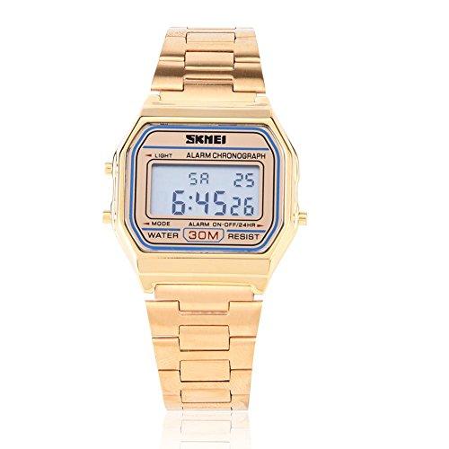 Montres pour les hommes, Digital LED rétro-éclairage bracelet en acier inoxydable Montre Rectangle montre-bracelet(Gold)