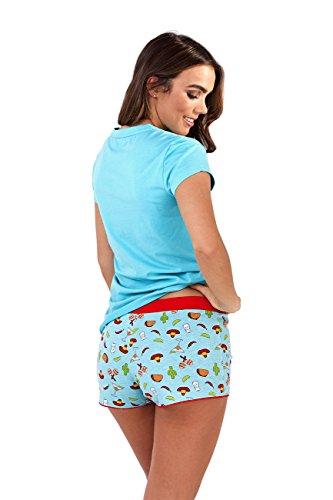 Damen Schlafanzug-Set, Oberteil und bedruckte Shorts Blau