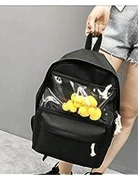 DFJU Bolsa de Lona Transparente Pequeño Amarillo Pato Mochila Coreana Versión Niña Secundaria Estudiante Bolsa Mujer Marea Mochila Un