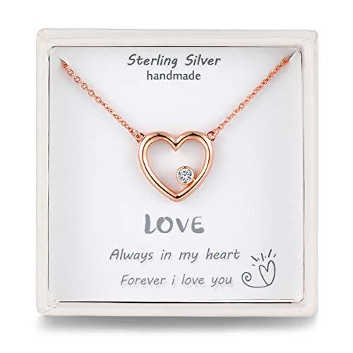 Qings Herzkette Damen Rosegold Kette Herz Frauen Halskette mit Anhänger Silber Geschenke für Damen Frauen Freundin Pärchen und Deine Liebe -