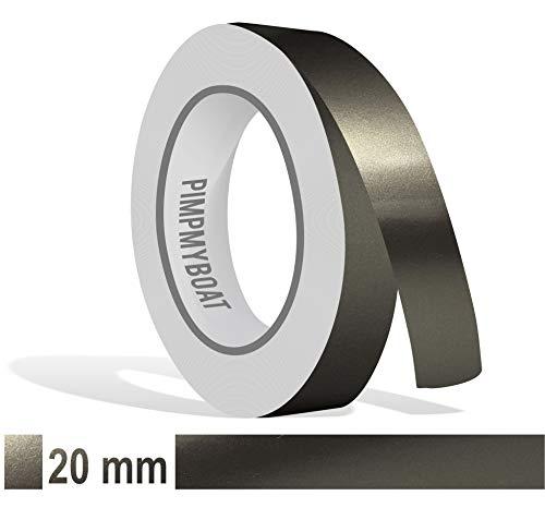 Siviwonder Zierstreifen anthrazit grau metallic Glanz in 20 mm Breite und 10 m Länge Folie Aufkleber für Auto Boot Jetski Modellbau Klebeband Dekorstreifen dunkelgrau Silber
