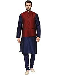 kisah Benarasi Cotton SilkSelf DesignWaistCoat For Men's