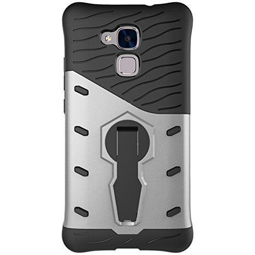 Für Huawei Honor 5C & Honor 7 Lite GT3 Fall Neue Rüstung Tough Style Hybrid Dual Layer Rüstung Defender Soft TPU / PC Rückseitige Abdeckung Fall mit 360 ° Stand [Shockproof Case] ( Color : Black ) Silver