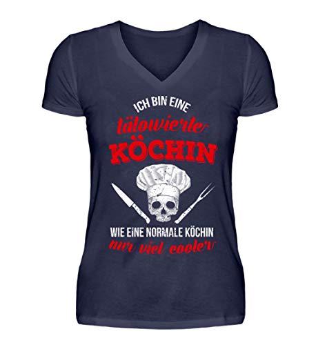 Koch-Shirt   TÄTOWIERTE KÖCHIN/Gastronomie Gastro T-Shirt/Frau/Arbeitskleidung/LUS - V-Neck Damenshirt -L-Dunkel-Blau