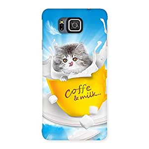 Luxirious Kitty Coffee Multicolor Back Case Cover for Galaxy Alpha