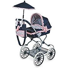 Decuevas Toys - Coche muñeca classic romantic, coche con bandeja, bolso y sombrilla, 42 x 68 x 81 cm