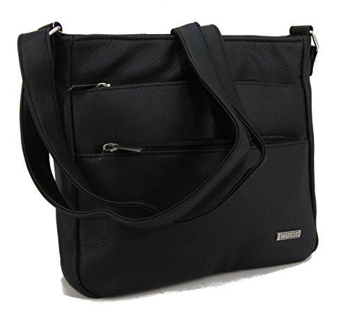 STEFANO Damen Umhängetasche Schultertasche Frauen Handtasche soft PU verschiedene Modelle M1- Taupe