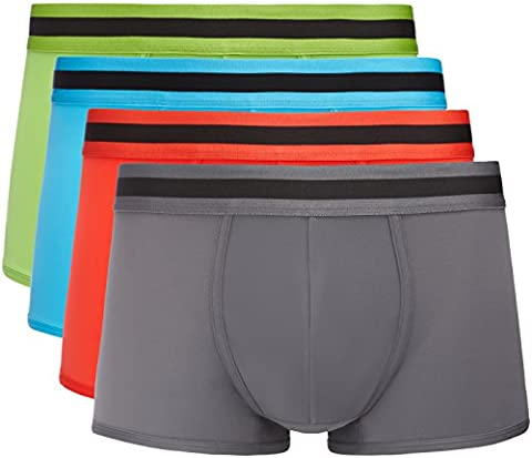 FIND Men's Essential 4-Pack Hipsters, Multicoloured (Lime X1, Classic Red