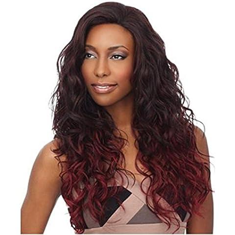 Meydlee Parrucche Caldo lanuginoso marrone sfumato vino rosso parrucca piena mais acconciatura