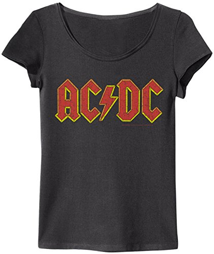 Amplified - T-shirt da donna Rock Band AC/DC Logo (grigio) (S-XL) bianco S