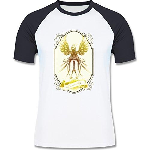 Vintage - Phoenix rising - zweifarbiges Baseballshirt für Männer Weiß/Navy Blau