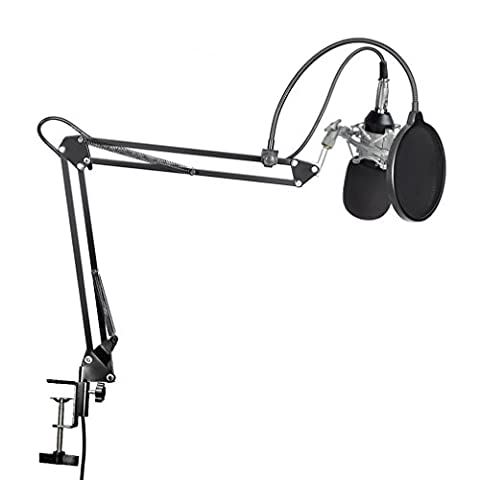 LESHP Professional 3.5 mm Robustes Flat Head Condenser Broadcasting Recording Mikrofon mit 35 Bracket Set & USB Sound Card