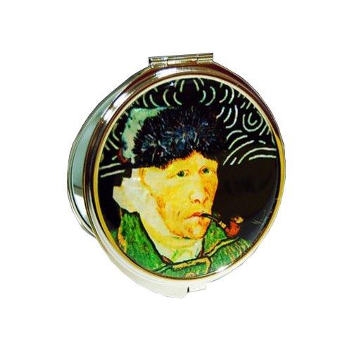 Nacre 'van Gogh' Self – Portrait Motif Noir Double miroir de sac à main Compact