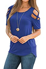 Twippo Women's T Shirts Casual Loose Hollow Out Shoulder Tops Tees Blouses Blue S