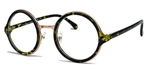 Runde Pantobrille im Vintage Stil Retro Sonnenbrille o.Nerd Brille Hornbrille dicker Rahmen LP41 (Hornbrille/Clear Lens)