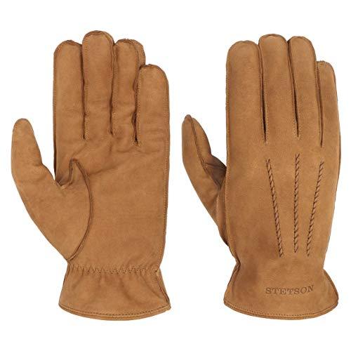 Stetson Soft Nubuk Lederhandschuhe Handschuhe Herrenhandschuhe Fingerhandschuhe Nubukleder Herren | mit Futter Herbst-Winter | 9 1/2 HS cognac