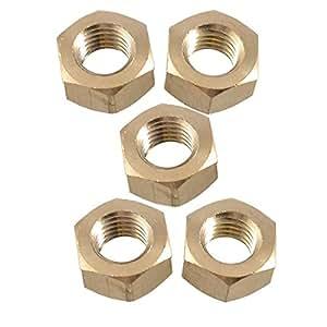 """5 pièces 35/64 """"filetage femelle à tête hexagonale Grub noix vis Gold Tone"""