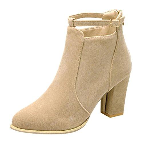 Stiefel damen Kolylong® Frauen Elegant Stiefeletten mit absatz Vintage Martin Stiefel Warm Ankle Boots Plateau Stiefel Kurz Schuhe High Heel Freizeit Schuhe (38, Beige) (Beige Leder-plattform)