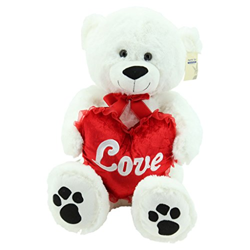 Sweety-Toys 5710 XXL Riesen Teddy Valentine Teddybär 80cm weiss mit Herz LOVE supersüss - Teddy Bär Riesen Valentines