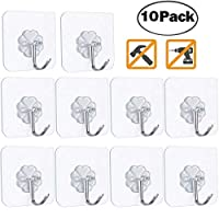 10 Punch-Free Strong Adhesive Hooks, Strong Transparent Suction Cup Sucker Wall Hooks, Waterproof and Oilproof Reusable Seamless Hooks, Reusable Wall Hook for Bathroom & Kitchen (White