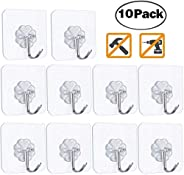 10 Punch-Free Strong Adhesive Hooks, Strong Transparent Suction Cup Sucker Wall Hooks, Waterproof and Oilproof