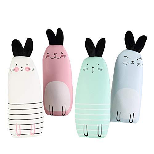 4 Stück Vintage stiftemäppchen Schlamperrolle mit Reißverschluss Makeup Tasche Aufbewahrungstasche Niedliches Kaninchen Muster (Kaninchen) (Niedliche Make-up-taschen)