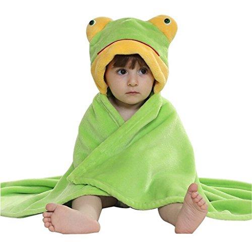 DINGANG Baby Kleinkinder Kids Badetuch mit Kapuze Duschtuch Badeponcho Sternbild Motiv (Frosch) (Handtuch Stehen)