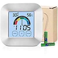 XREXS Touch Screen Indoor Thermometer Humidity Monitor 3 in 1 Digital Hygrometer Thermometer with Backlit LCD Display, Loud Alarm for Home Office Warehouse Wine Cellar (Battery included)