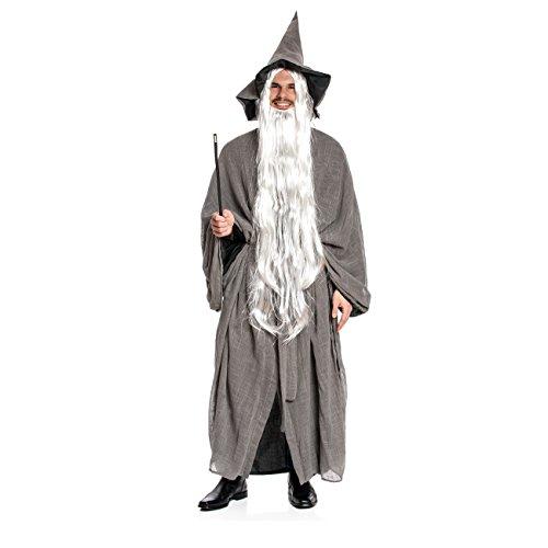 Kostümplanet® Zauberer-Kostüm Wizzard mit Zauberer-Mütze für Herren Damen Erwachsene Größe 52/54