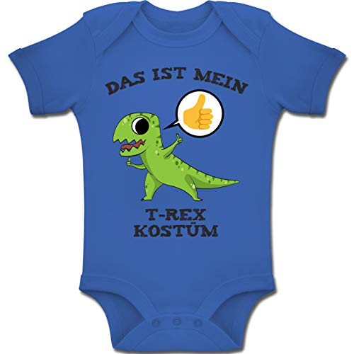 Shirtracer Karneval und Fasching Baby - Das ist Mein T-Rex Kostüm Comic - 6-12 Monate - Royalblau - BZ10 - Baby Body Kurzarm Jungen Mädchen