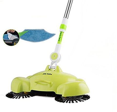 Cuzit enfants domestiques Helper Balai 3en 1ménagers Main Push automatique de balayage robot intelligent SE Pencher Balai Pelle et poubelle, Aspirateur de sol multifonction avec Cloth-green