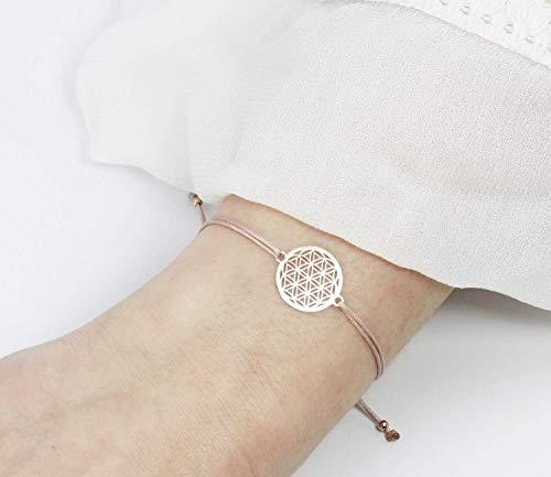 SCHOSCHON Damen Blume des Lebens Armband 925 Silber rosevergoldet - Nude | Lebensblume Geschenk Mutter Schmuck personalisierbar -