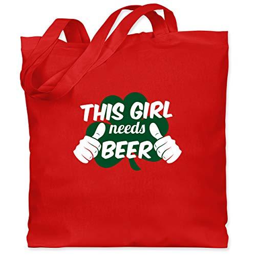St. Patricks Day - This Girl needs Beer Kleeblatt - Unisize - Rot - WM101 - Stoffbeutel aus Baumwolle Jutebeutel lange - Wirklich Cool Kids Kostüm
