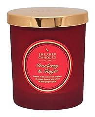 Idea Regalo - Shearer Candles Cranberry e Zenzero Candela profumata in Barattolo con Coperchio Oro, Rosso