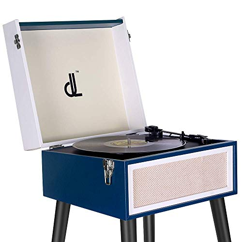Tourne Disque Vinyle Turntable 3 Vitesses DLITIME Record Player avec Pied Amovible Haut-Parleur Bluetooth Intégré, Prise Casque Aux in /RCA /3.5 mm