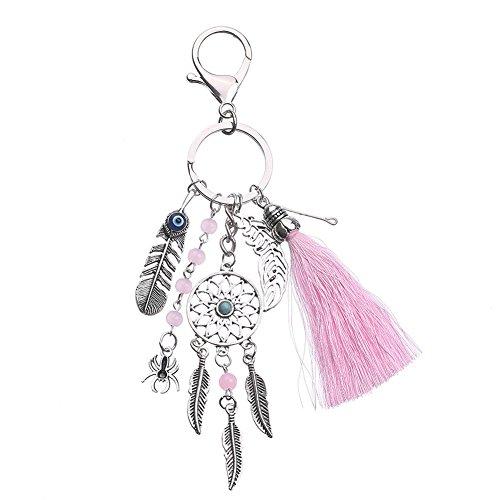 Llavero con pompón para bolso de Atrapasueños decoración de coche accesorios de llaves de mochila 16.5 cm Rosa