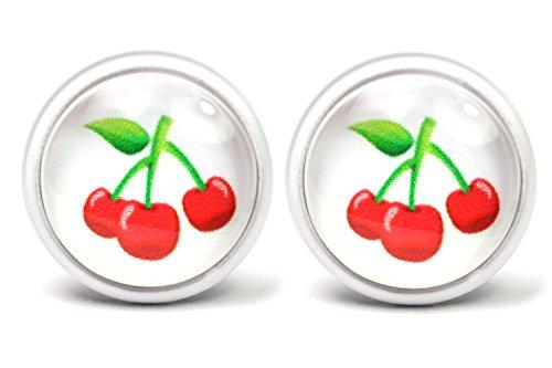 LA FABA Kirschen Ohrstecker weiß Ohrringe Rockabilly Schmuck Accessoires 14 mm Durchmesser für Damen und Mädchen im Geschenk Etui, Schachtel (K - weiß)