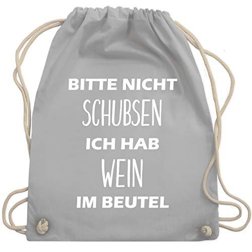 Festival Turnbeutel - Bitte nicht schubsen ich hab Wein im Beutel - Unisize - Hellgrau - WM110 - Turnbeutel & Gym Bag