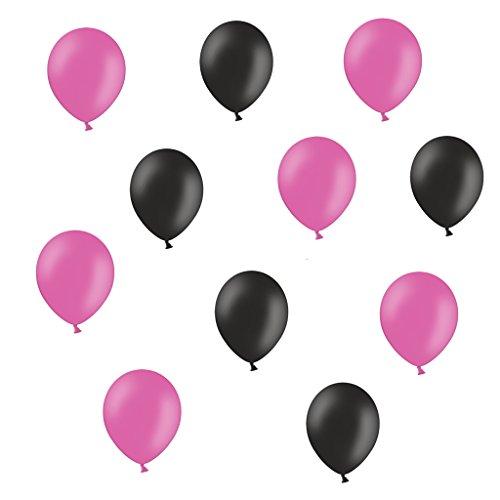 50 Premium Luftballons in Pink/Schwarz - Made in EU - 100% Naturlatex somit 100% giftfrei und 100% biologisch abbaubar - Geburtstag Party Hochzeit Silvester Karneval - für Helium geeignet - twist4®