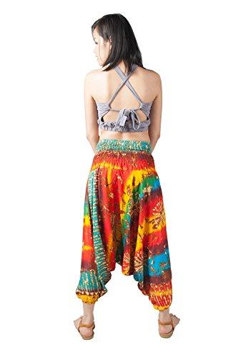 Lofbaz Damen Hippie Boho Hose 2 in 1 Haremshose & Jumpsuit Aladinhose Pumphose Tie Dye Orange & Gelb